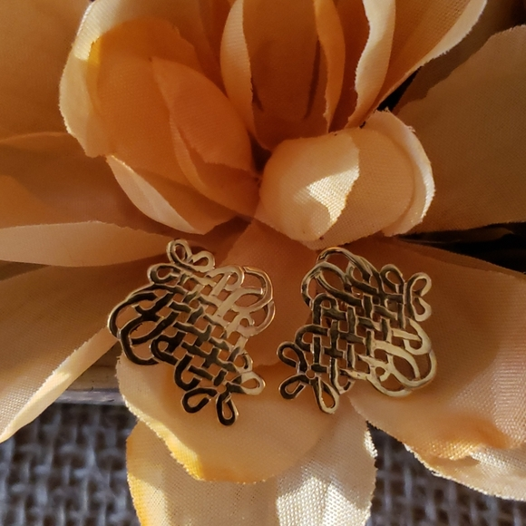 Vintage MFA Durer Gold Plated Knot Earrings